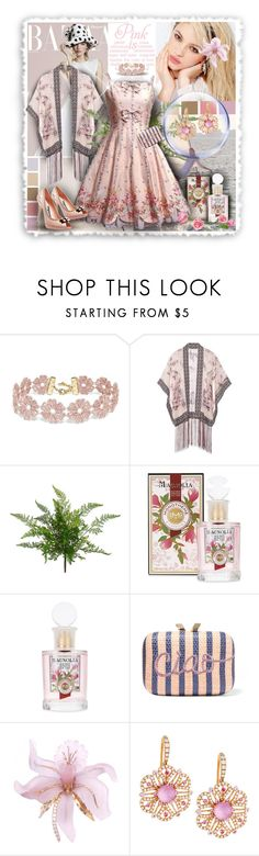 """""""Vintage Pink Party Dress & Kimono Shawl"""" by franceseattle ❤ liked on Polyvore featuring Silvana, Avenue, BaubleBar, Anna Sui, Christian Dior, KOTUR, Roberto Coin and vintage"""