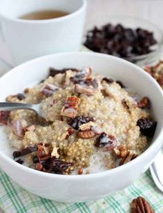 Make breakfast quinoa by heating it with coconut milk, vanilla, and spices then add nuts and dried fruit. | 27 Foods To Eat At Suhoor That Release Energy Throughout The Day During Ramadan