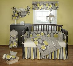 grey/yellow crib bedding and other nursery items