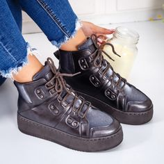 Sneakers dama cu platforma gri Adisri -rl High Tops, High Top Sneakers, Casual, Shoes, Fashion, Moda, Shoes Outlet, Fashion Styles, Shoe