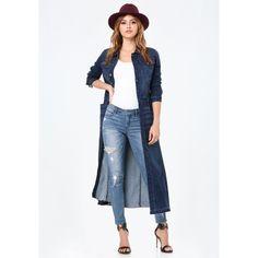 Denim+Duster denim jacket with dress, denim coat, jean jacket styles, dus. Denim Duster, Denim Coat, Duster Coat, Denim Jacket With Dress, Denim Shirt Dress, B Fashion, Denim Fashion, Fashion Ideas, Fall Winter Outfits
