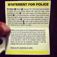 Statement of your rights for police.