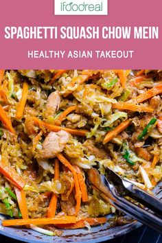 Lower Excess Fat Rooster Recipes That Basically Prime Spaghetti Squash Chow Mein Is A Healthy Chinese Takeout Recipe With Spaghetti Squash Noodles, Homemade Oyster Sauce, Chicken Or Beef, And Chock Full Of Vegetables. Low Carb And Keto Friendly. Spagetti Squash Chow Mein, Spaghetti Squash Noodles, Spaghetti Squash Recipes, Real Food Recipes, Chicken Recipes, Cooking Recipes, Keto Chicken, Food Tips, Healthy Chinese Recipes