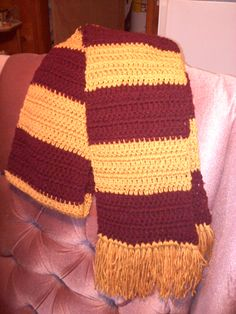 Easy Two Color Striped Scarf Crochet Pattern