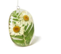 Daisy Pendant-real Flower Jewelry by ModernFlowerChild