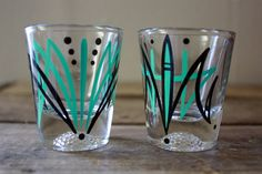 Pinstriped Shot Glasses 2  Aqua & Black Kustom by nikscarlett, $14.00