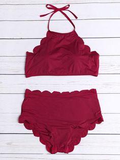 Scalloped Trim Halter Bikini Set