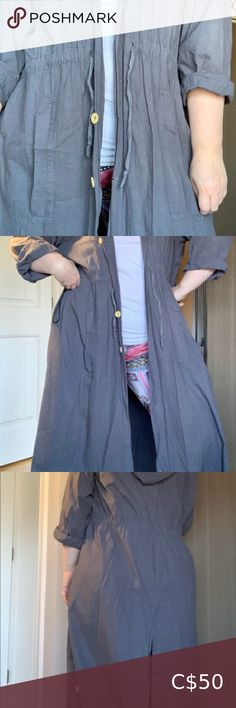 Mikell coat made in San Francisco Stylish lightweight gray coat - perfect for cooler spring and summer days - looks great over any outfit Mikell Jackets & Coats Denim Button Up, Button Up Shirts, Gray Coat, Plus Fashion, Fashion Tips, Fashion Trends, Summer Days, Looks Great, San Francisco