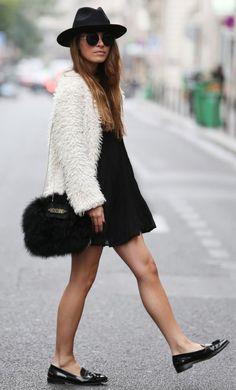 fur-coat-fur-bag-street-style-hat-moschino-dress