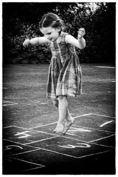 Playing hop scotch was always a good way to spend a summer afternoon.