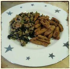 Diese verlockende Reis-Bohnen-Pfanne mit veganen Gyros gab es am Abend bei Stefan