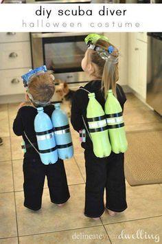 Cute costume - 2-liter pop bottles as scuba tanks for scuba diver costume