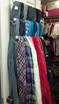 Deko Fashion scarf organizer inside closet door (over-the-door towel rack) Organic Gardening - A Gro Master Closet, Closet Bedroom, Master Bedroom, Scarf Organization, Home Organization, Organizing Scarves, Organizing Ideas, Scarf Rack, Scarf Storage