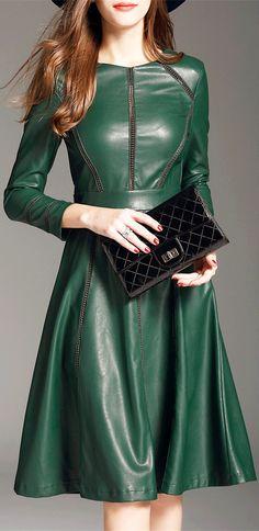 PU Leather A Line Long Sleeve Dress