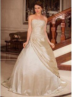 Ball-Gown Strapless Court Train Taffeta Wedding Dress With Ruffle Lace Beading (002012179) - JJsHouse