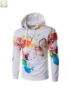 Sudaderas Hombre 2017 New mens hoodies slim fit pullover Digital Print  Irregular Ink sweatshirt casual male hooded men hoody 9300dc94ad5