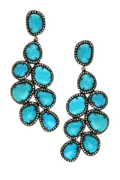 14K yellow gold and silver pave diamond halo prong set assorted turquoise vintage-inspired crescent leaf shaped drop earrings