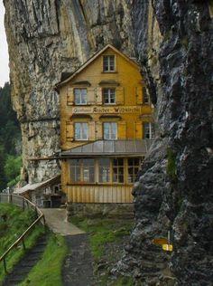 Äscher Cliff Restaurant, Switzerland by Nessa hotel built in the side of a mountain,