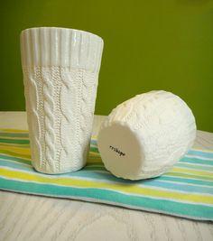Ensemble de câble 2 tasses en céramique en tricot par reshapestudio, $62.00