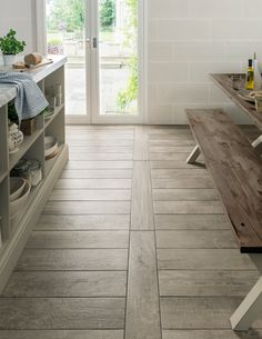 porcelain flooring 41 Enchanting Porcelain Tile Ideas For Kitchen Floors - If you think that cream and beige are unexciting shades in home design, check out the latest Livingstyle Porcelain Tile Collection. These porcelains a. Wood Look Tile Floor, Wood Tile Floors, Terrazzo Flooring, Stone Flooring, Kitchen Flooring, Kitchen Tiles, Wooden Flooring, Wooden Floor Tiles, Flooring Ideas