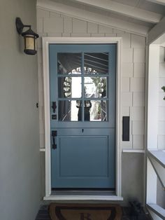 Ideas for apartment entryway front doors benjamin moore Front Door Paint Colors, Painted Front Doors, Paint Colors For Home, Blue Front Doors, Interior Barn Doors, Exterior Doors, Exterior Paint, Tan House, Shutter Colors
