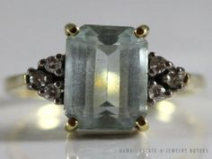 ESTATE VINTAGE LADY'S 14K YELLOW GOLD 2.15ct NATURAL AQUAMARINE & DIAMOND RING