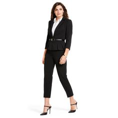 Use a sleek little skinny black belt to accentuate curves in a classic style. #WHBM #WorkMastered