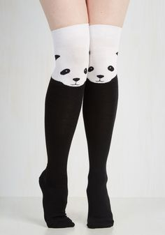 Ex-Panda-ble Enjoyment Socks. Your affinity for fun details is apparent whenever you accessorize with these not-so-ordinary knee-high socks! #black #modcloth