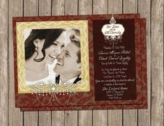 Classic Wedding Invitation, Red and Cream  Digital file, Printable on Etsy, $15.00