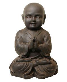 Clay Fiber Baby Buddhist Monk Garden Statue, 16 Inches High