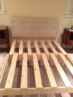 White wood single bed frame
