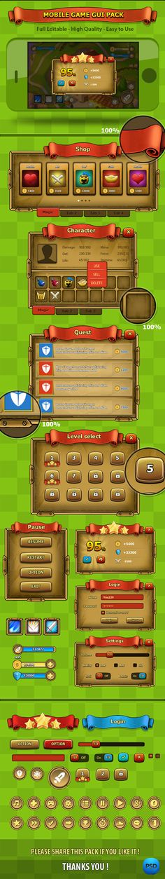 Fantasy mobile game gui 02 by YuQ do, via Behance