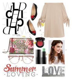 """""""Untitled #213"""" by poorvashikalra ❤ liked on Polyvore featuring Privilege, TIBI, Christian Louboutin, Gucci, REGALROSE, Ardency Inn, Lancôme and Linda Farrow"""