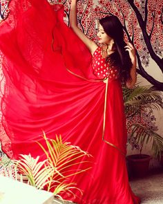 #red #dress #embroiderey #indian #indianfashion  Loving the layers and the bright, peppy colour!
