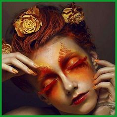 Make Up - Avant-garde Eye Makeup with Orange and Red Eyeshadow and Lashes Sfx Makeup, Eye Makeup Tips, Costume Makeup, Beauty Makeup, Hair Makeup, Makeup Style, Makeup Geek, Makeup Ideas, Hair Beauty