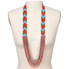 Kirra Tate Chevron Coral & Turquoise Beaded Necklace from @Layla Grayce #zincdoor #colorcrave #red #turquoise #jewelry