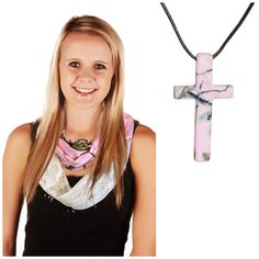 Realtree Pink Cross Necklace + Realtree Girl Pink Chloe Infinity Scarf 2PC Gift