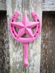 Horseshoe And Star Wall Hook / Hot Pink Cowgirl Western Hat Rack / Country…