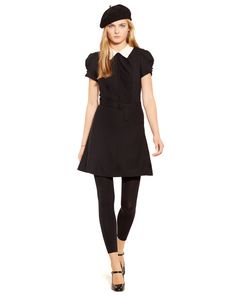 Contrast-Collar Crepe Dress - Polo Ralph Lauren Short Dresses - RalphLauren.com