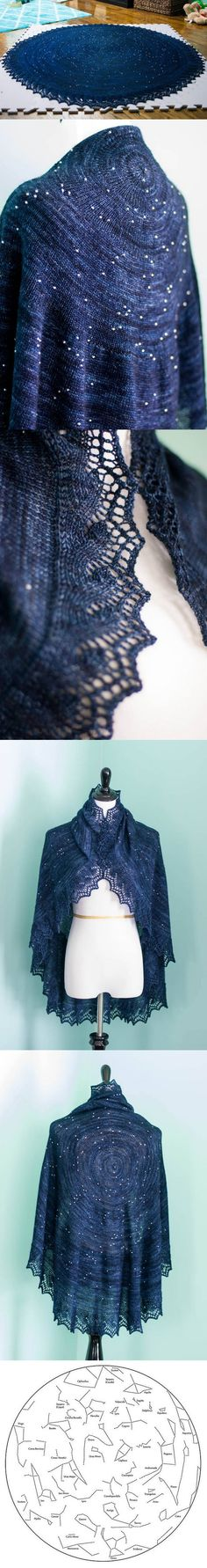 Star map shawl. It is beaded with over 350 beads to represent the night sky as seen from the North Pole.