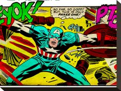 Marvel Comics Retro: Captain America Comic Panel, Fighting, Phase 1, So Far So Good! (aged) Stretched Canvas Print - at AllPosters.com.au