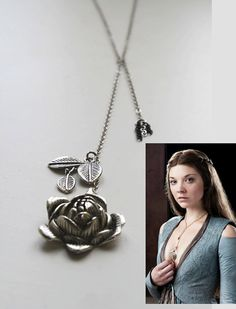 Game of Thrones Jewellery Margaery Tyrell Rose Necklace Cosplay Replica Silver Rose Necklace A Song of Ice and Fire