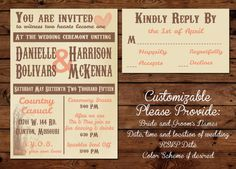 Country Wedding Invitation * Bring your own boots! * Tying the knot invitation * Custom Made To Order