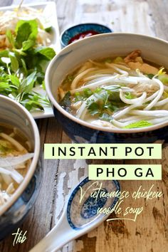 Instant Pot Pho Ga, classic Vietnamese chicken noodle soup made easy in the pressure cooker. Vietnamese Chicken Noodle Soup Recipe, Chicken Pho Soup, Vietnamese Recipes, Pho Noodle Soup, Soup Recipes, Healthy Recipes, Pho Soup Recipe Easy, Pho Ga Recipe, Chili Recipes