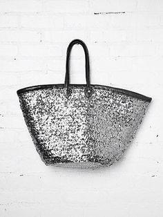 Silver Glittering Tote Bag