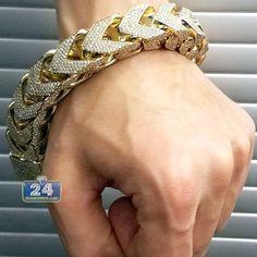 Solid Gold 40 ct Diamond Franco Bracelet