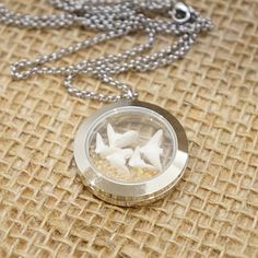Floating Beach Glass Locket with Doves from a Sand Dollar