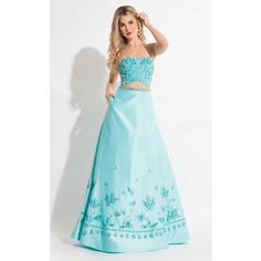 Rachel Allan 7605 Prom Ball Gown Long Strapless Sleeveless (£480) ❤ liked on Polyvore featuring dresses, gowns, aqua mint, formal dresses, blue prom dresses, prom dresses, formal evening gowns, sequin gown and long sequin dress