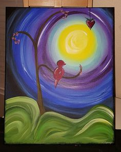 Check out this item in my Etsy shop https://www.etsy.com/listing/267101459/red-bird-hanging-heart-on-canvas