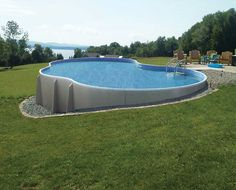 natural looking pool liner designs   ... Natural Materials : Unique Shape Semi Inground Pool Overlooking Sea